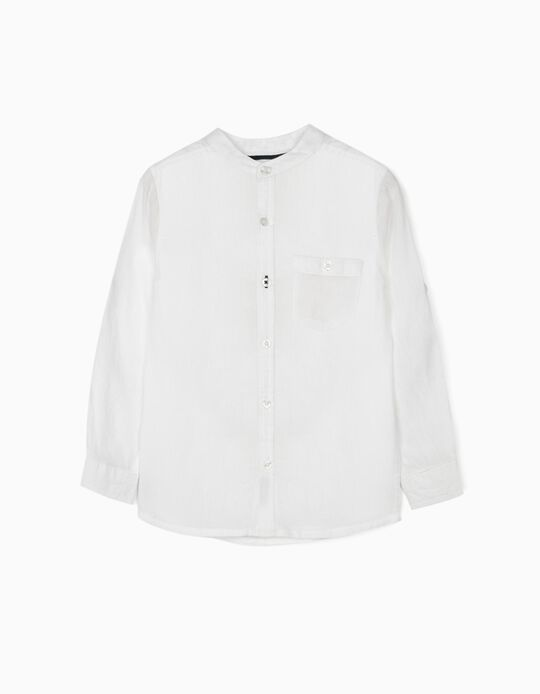 Shirt with Mandarin Collar for Boys, White