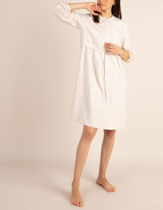 Camisa de dormir aos quadrados em flanela