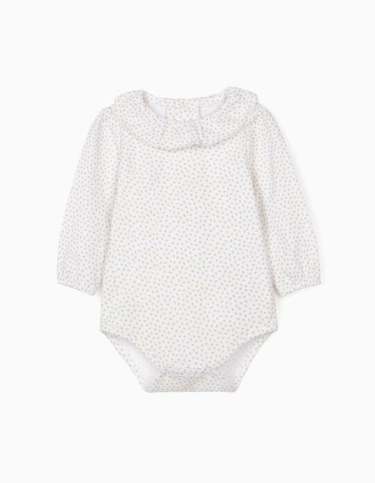 Floral Bodysuit for Baby Girls, White