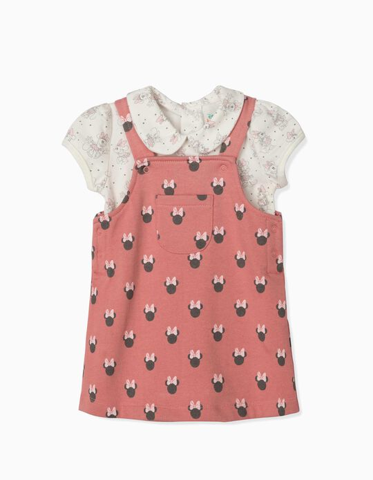 Pinafore Dress and Bodysuit for Newborn Baby Girls, 'Minnie Mouse', Pink/White