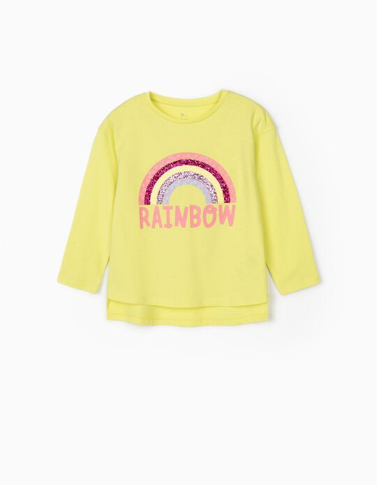 Long Sleeve Top for Girls, 'Rainbow', Lime Yellow