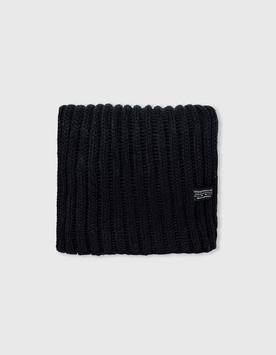 Rib Knit Scarf, Men, Dark Blue