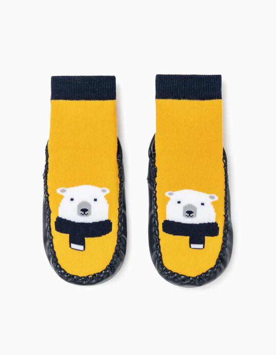 Non- Slip Slippers Socks for Boys, Dark Blue/Yellow
