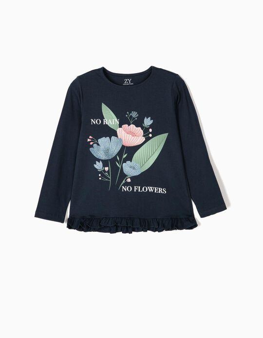Long-sleeve Top for Girls 'Flower Anatomy', Dark Blue