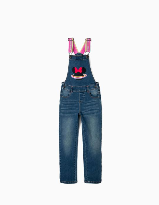 Denim Dungarees for Girls, 'Minnie Planet', Blue