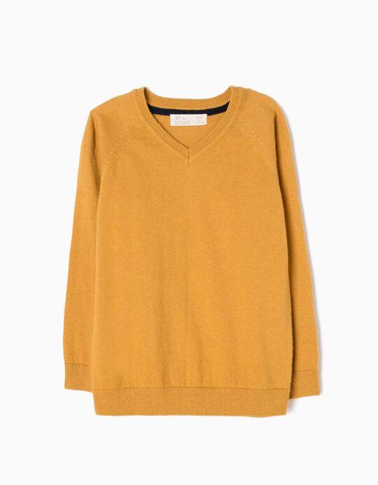 Camisola de Malha Fina Amarelo Torrado