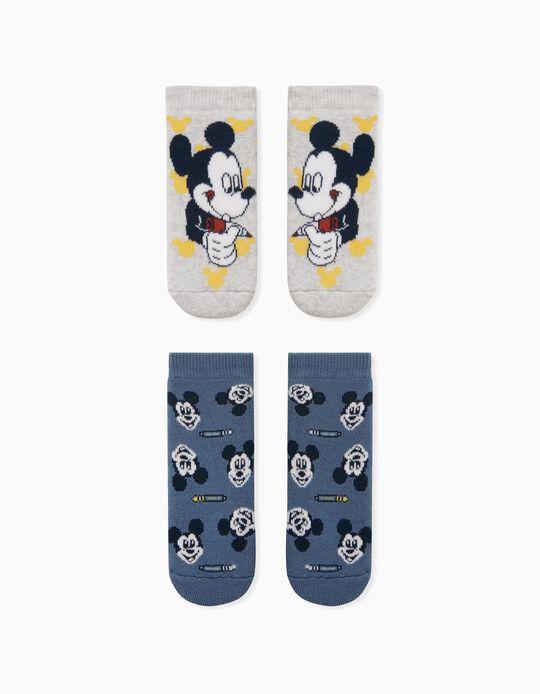2 Meias Antiderrapantes Mickey, Bebé Menino, Cinza/Azul