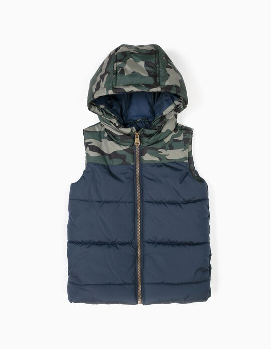 Blue and camouflage padded bodywarmer with hood