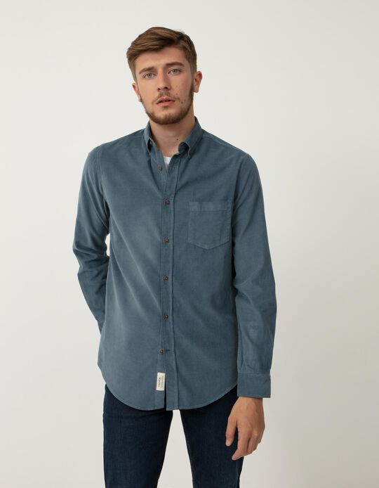 Camisa de Bombazine, Homem, Azul