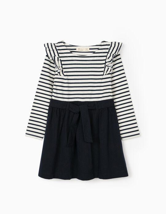 Vestido Combinado para Menina, Azul Escuro/Branco