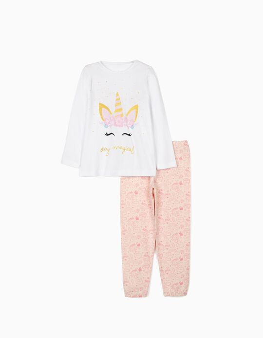 Long Sleeve Pyjamas for Girls, 'Unicorn', White/Pink