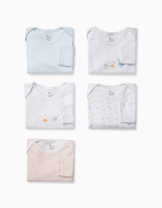 5 Bodysuits for Baby Boys 'Little Birds', White, Blue e Orange