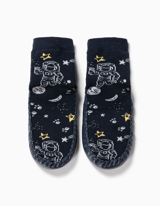 Meias-Pantufa Antiderrapantes para Menino 'Space', Azul Escuro