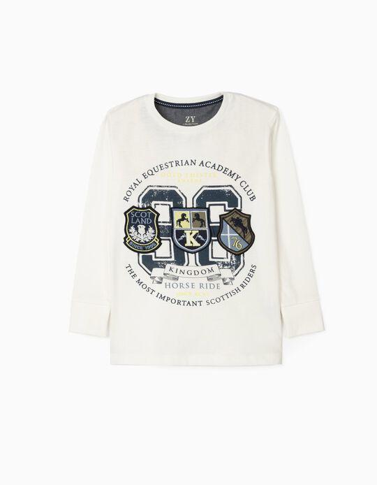 Long Sleeve T-Shirt for Boys 'Horse Ride', White