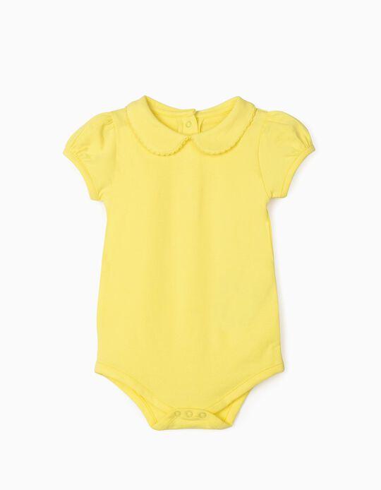 Short Sleeve Bodysuit for Baby Girls, Yellow