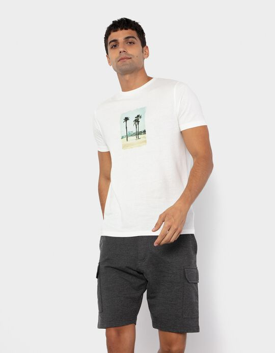 T-shirt with Print for Men, White