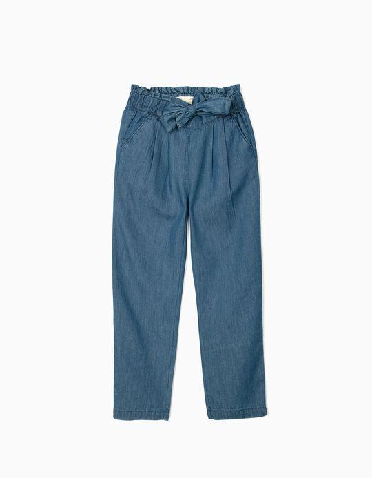 Denim Trousers for Girls, Blue