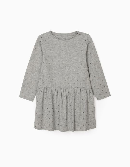 Jersey Knit Dress for Girls, 'Hearts', Grey