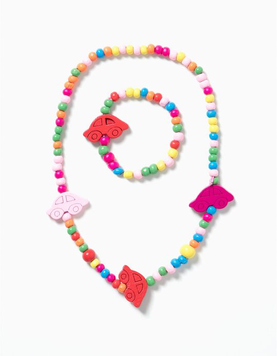 Necklace and Bracelet Set for Girls 'Cars', Multicolour