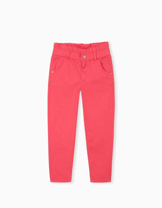 Twill Trousers for Girls, Pink