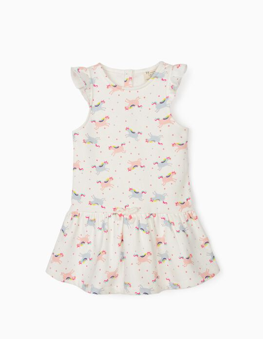 Dress for Baby Girls, 'Unicorns', White