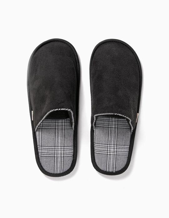 Plaid bedroom slippers