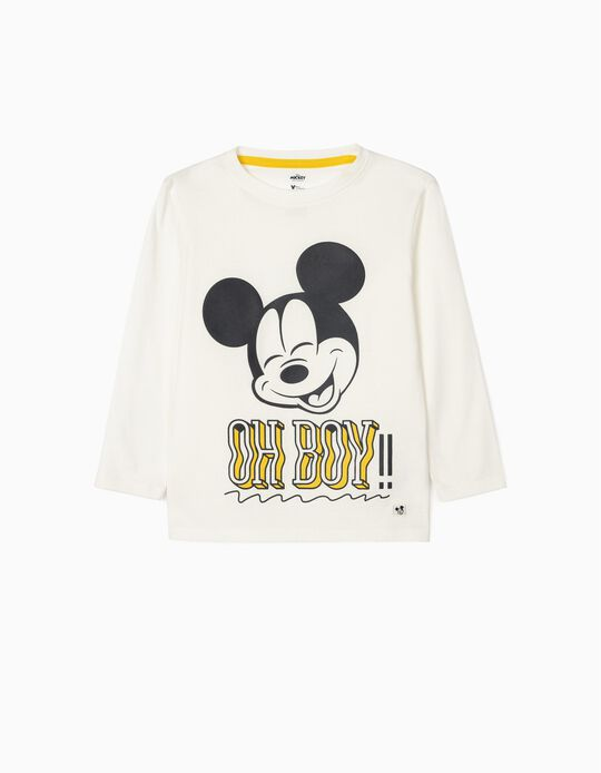 2 Long Sleeve Tops for Boys, 'Mickey Oh Boys!', White