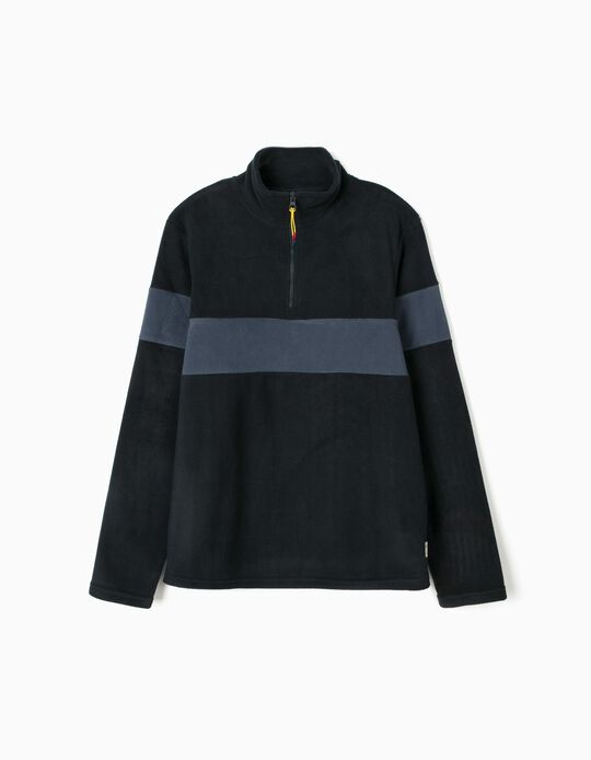 Sweatshirt with zipped collar
