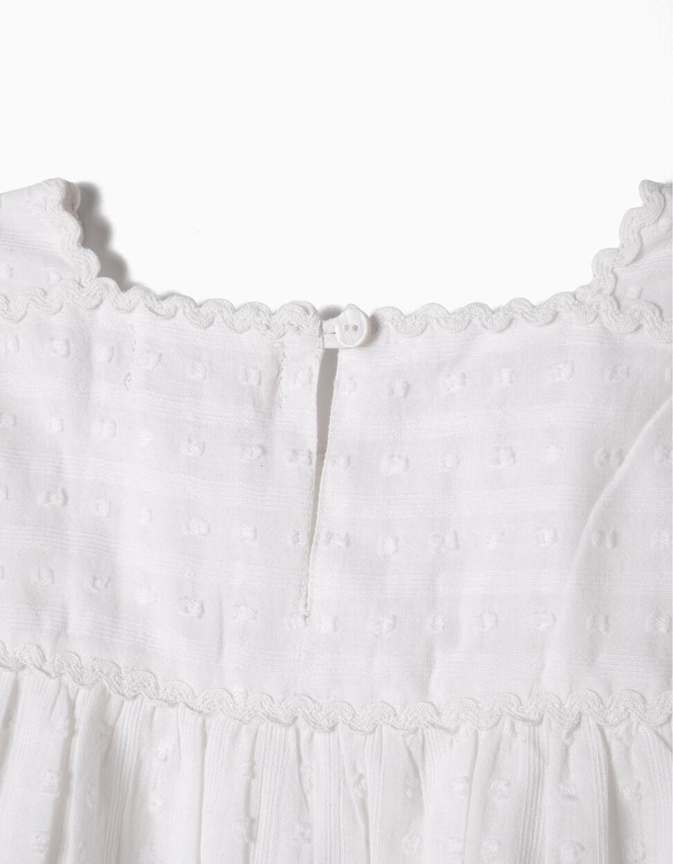 Blusa Fluida Swiss Dot Branca