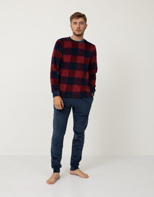 Pijama de Veludo, Homem, Azul/ Vermelho