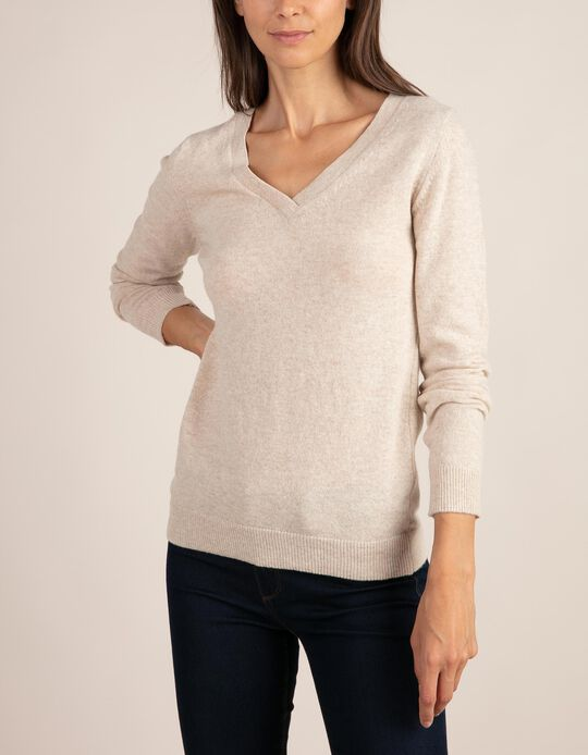 V-neck jumper in Baby Wool, Essentials collection