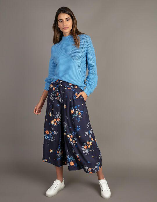 Calças cropped com padrão florido