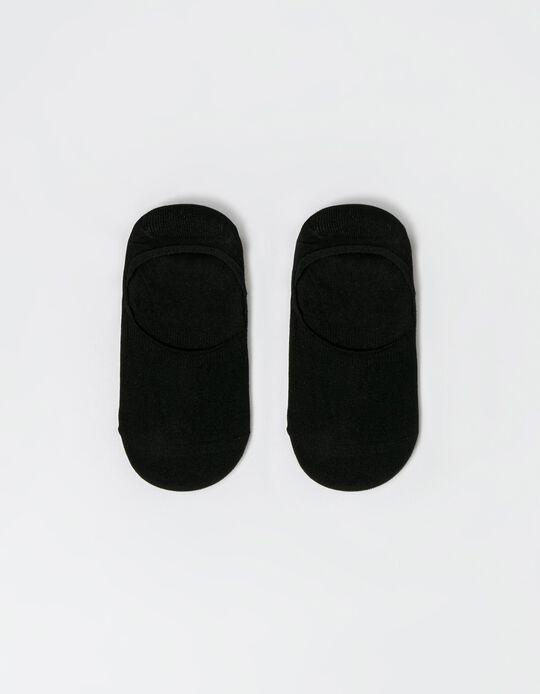 2 Pairs No Show Socks, 'mimi', Black