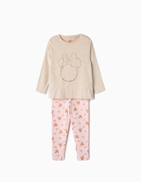 Pijama Manga Comprida para Menina 'Minnie', Bege e Rosa