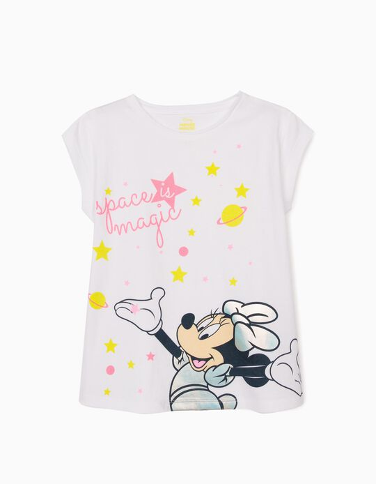 T-Shirt for Girls, 'Minnie Mouse Space', White