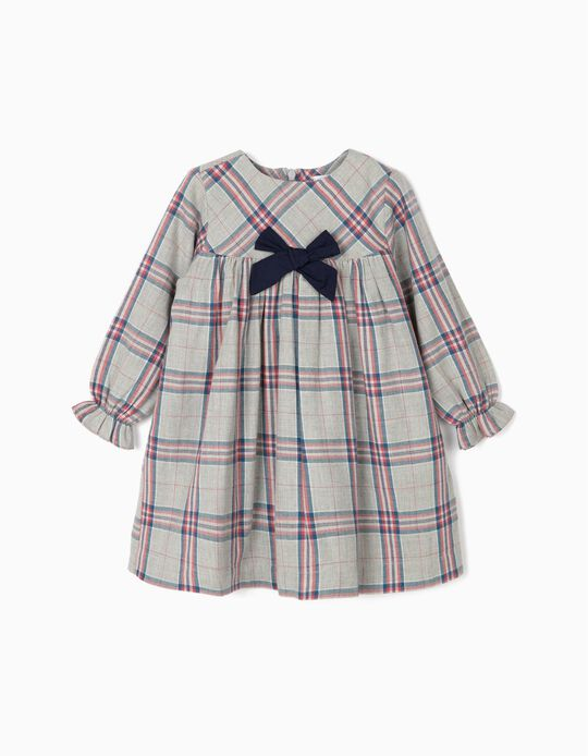 Vestido Xadrez para Bebé Menina, Cinza