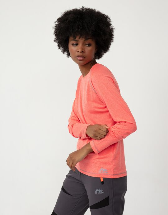 Long Sleeve Techno Trekking Top for Women, Pink