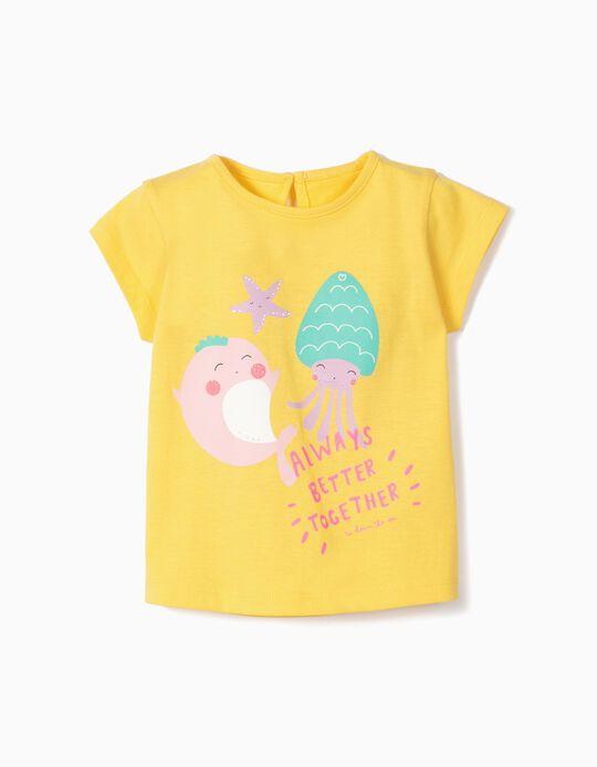T-shirt para Bebé Menina 'Better Together', Amarelo