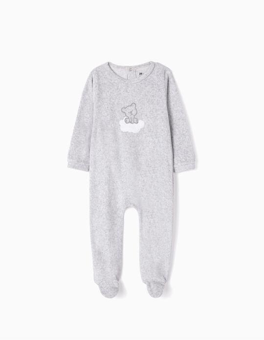 Velvet Sleepsuit for Babies 'Cute Bear', Grey