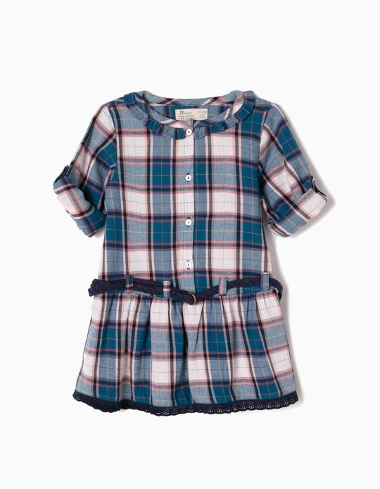 Vestido Bebé Menina Xadrez com Cinto