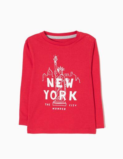 T-shirt Manga Comprida New York Azul