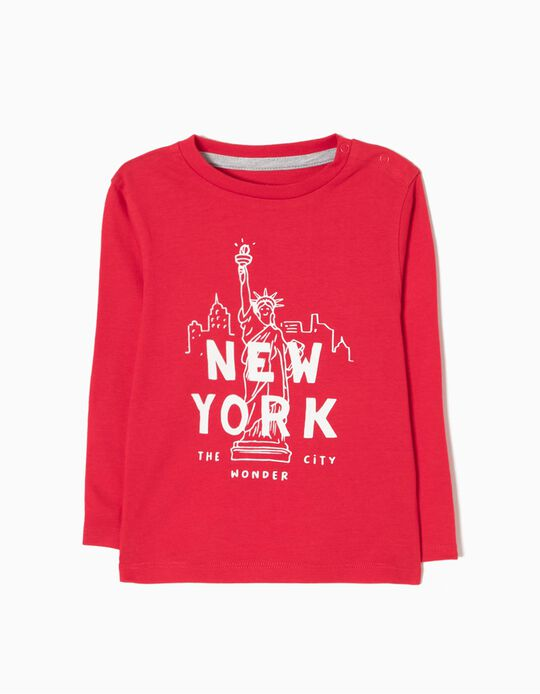 T-shirt Manga Comprida New York Vermelha