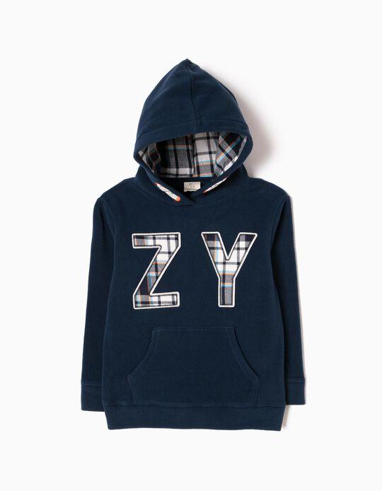 Sweatshirt Polar ZY Xadrez Azul Escura