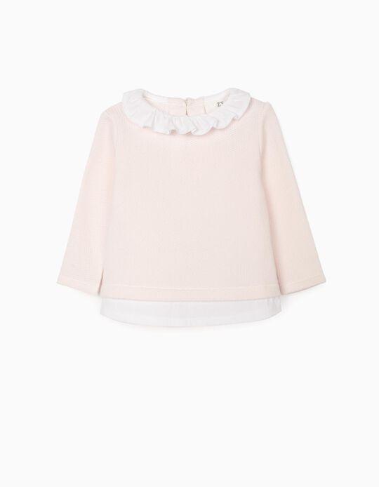 Camisola-Blusa para Recém-Nascida, Rosa/Branco