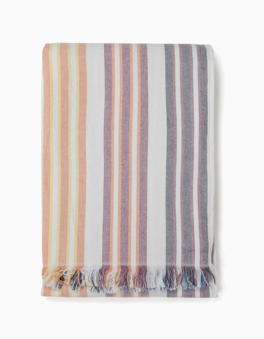 TOWEL STRIPED FRINGE, MIXED3, ÚNICO