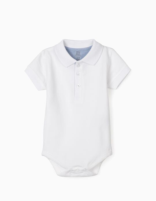 Polo Shirt Bodysuit for Baby Boys, White