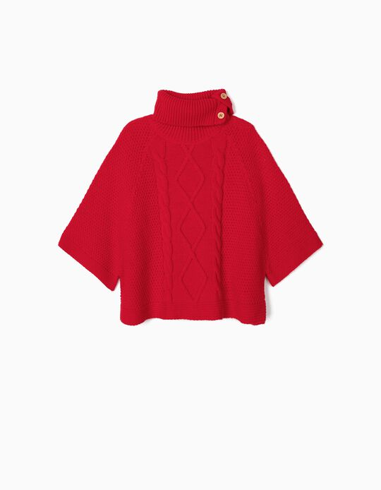 Knit Poncho for Girls, Red