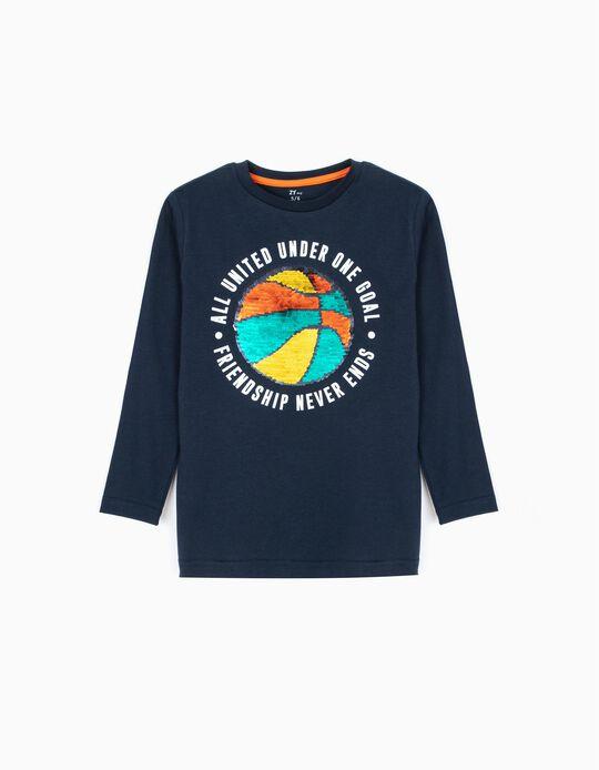 T-shirt Manga Comprida para Menino 'Play' com Lantejoulas Reversíveis, Azul