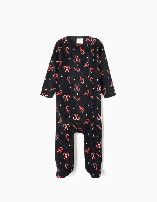 Polar fleece sleepsuit with Xmas pattern