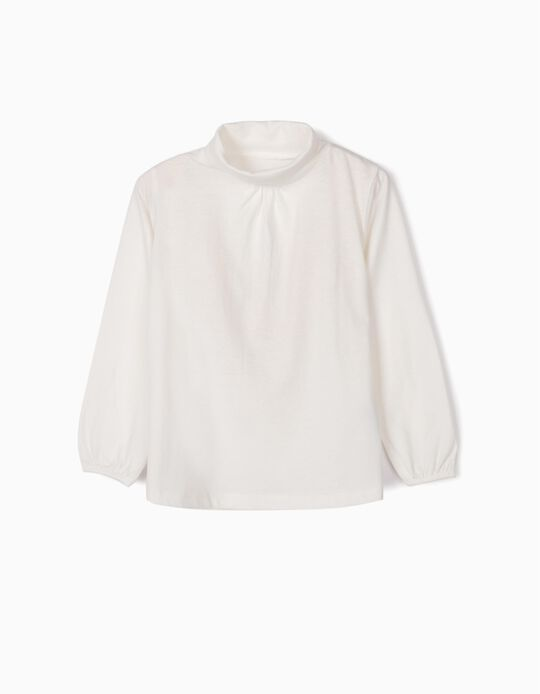 Long-sleeve Top with Turtleneck for Girls, White